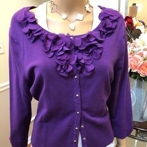 Purple sweater with floral collar